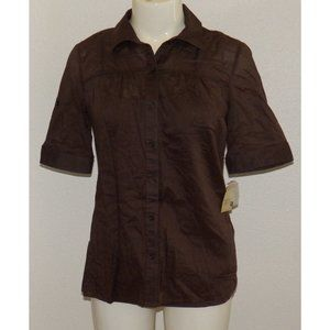 3/$25🌷 NWT Sonoma Sheer Brown Shirt Attached Tank